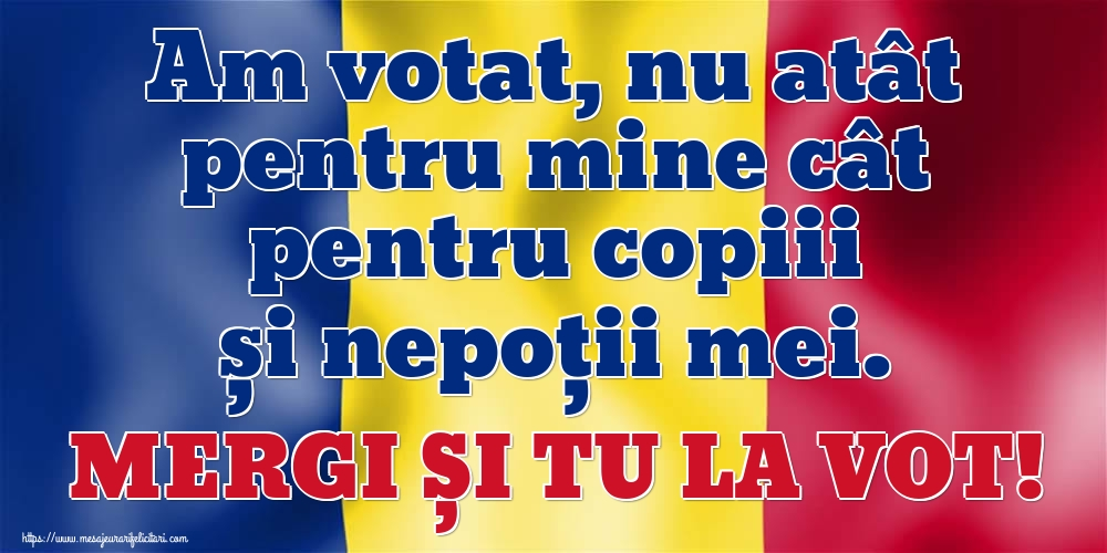 Alegeri Am votat, nu atât pentru mine cât pentru copiii și nepoții mei. MERGI ȘI TU LA VOT!