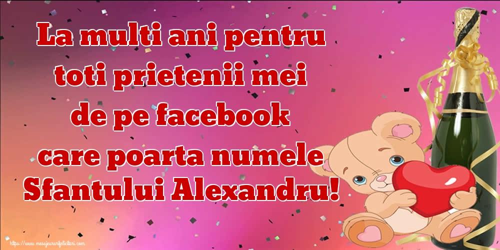 Felicitari de Sfantul Alexandru - La multi ani pentru toti prietenii mei de pe facebook care poarta numele Sfantului Alexandru!