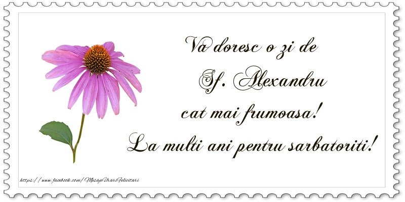 Felicitari de Sfantul Alexandru - Va doresc o zi de Sf. Alexandru cat mai frumoasa! La multi ani pentru sarbatoriti! - mesajeurarifelicitari.com