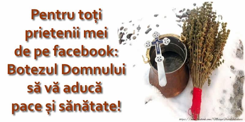 Boboteaza Pentru toți prietenii mei de pe facebook: Botezul Domnului să vă aducă pace și sănătate!