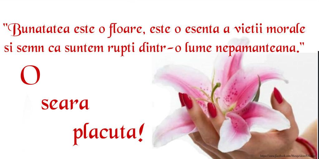 Felicitari de buna seara - Bunatatea este o floare, este o esenta a vietii morale si semn ca suntem rupti dintr-o lume nepamanteana