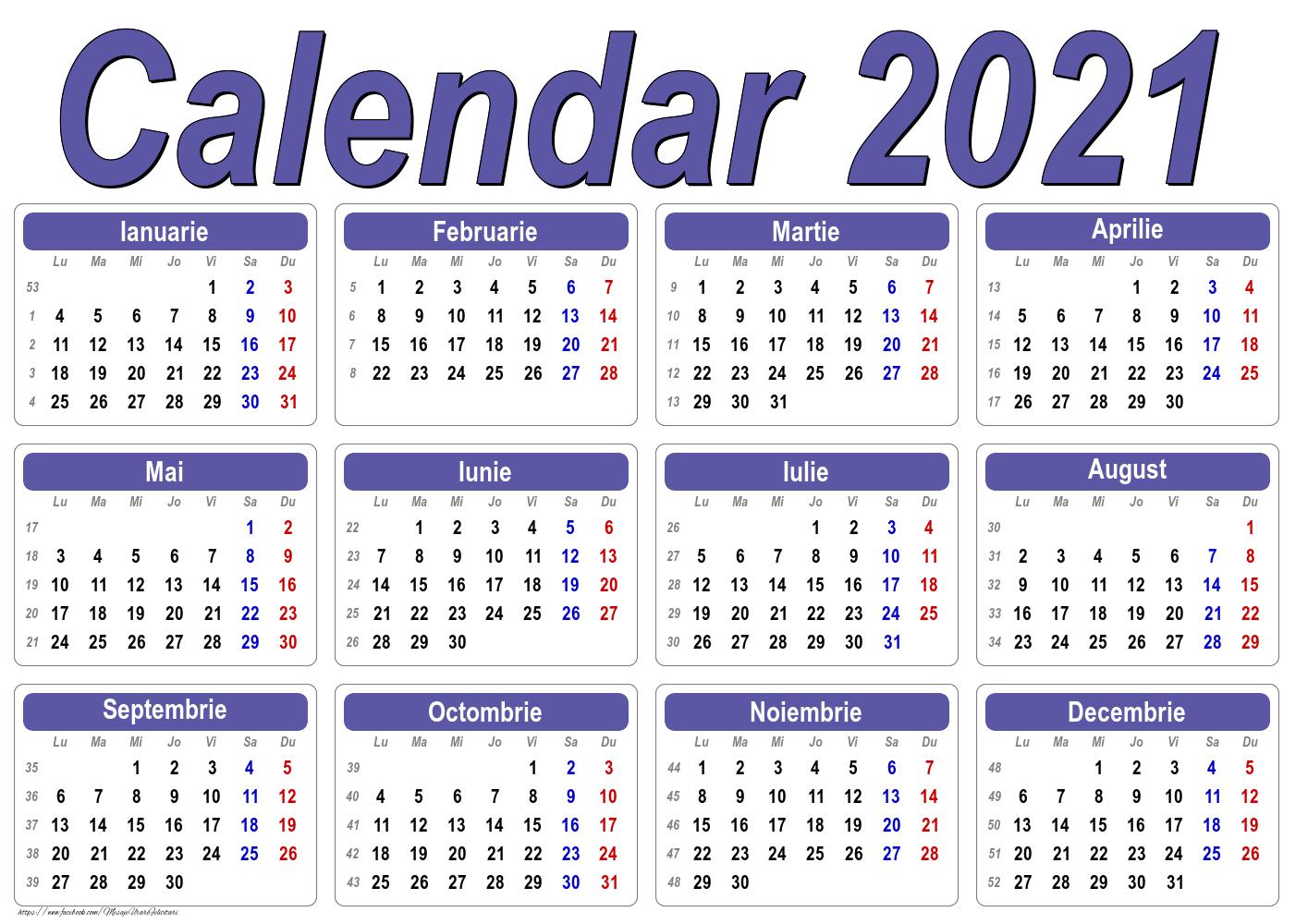 Imagini cu calendare - Calendar Clasic - Model 1