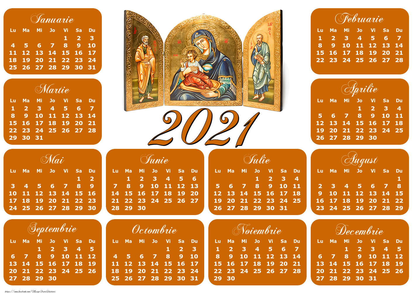 Imagini cu calendare - Calendar Icoane - Model 1