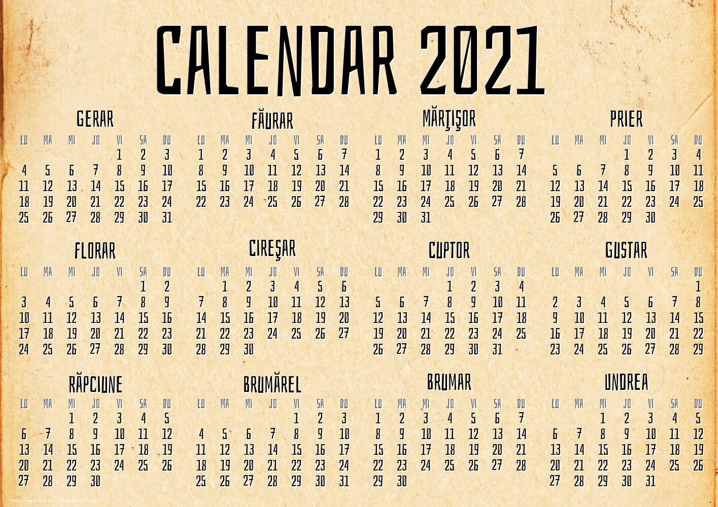 Imagini cu calendare - Vintage - Model 2 (Lunile anului popular)