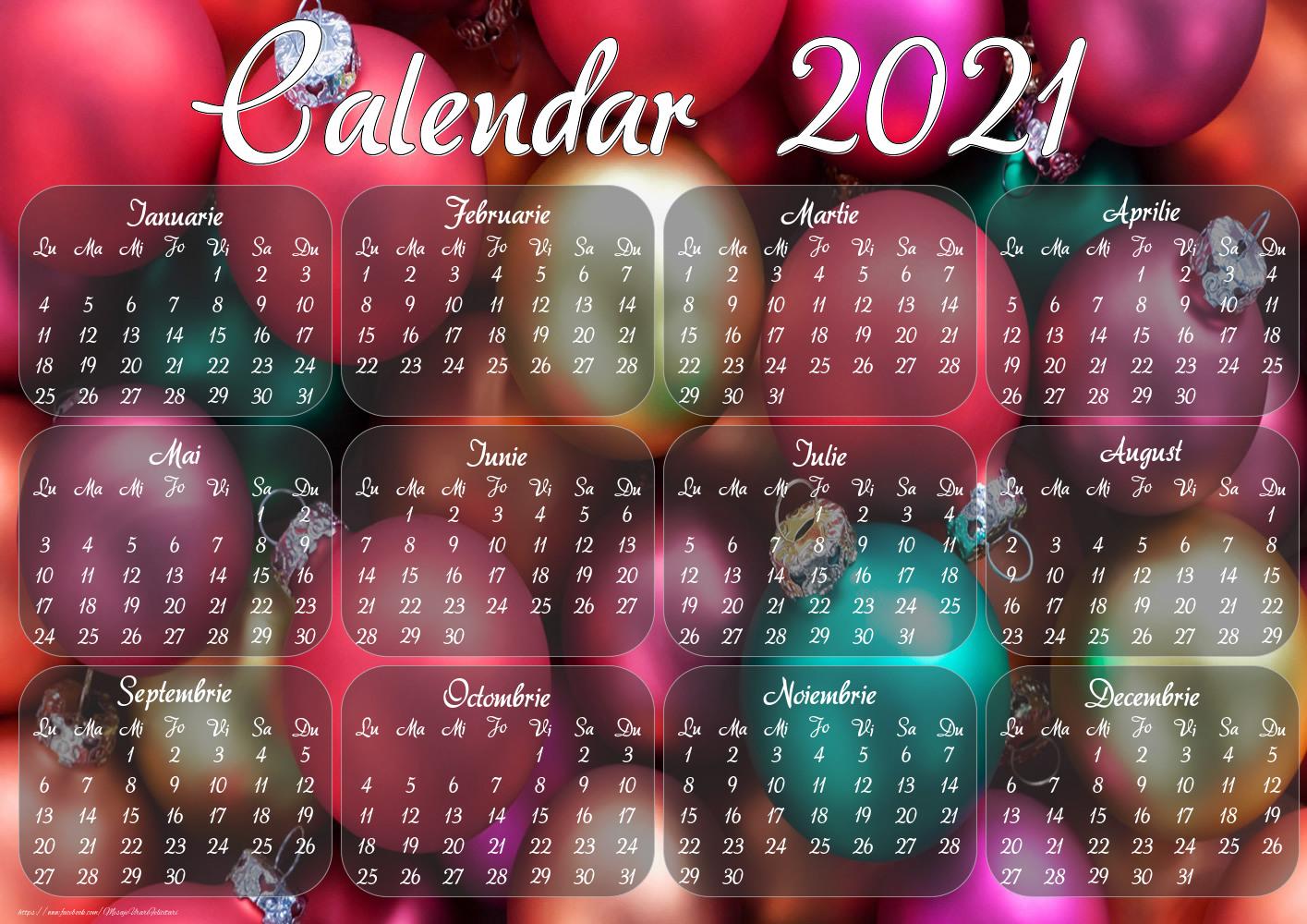Imagini cu calendare - Globuri de Craciun - Model 2