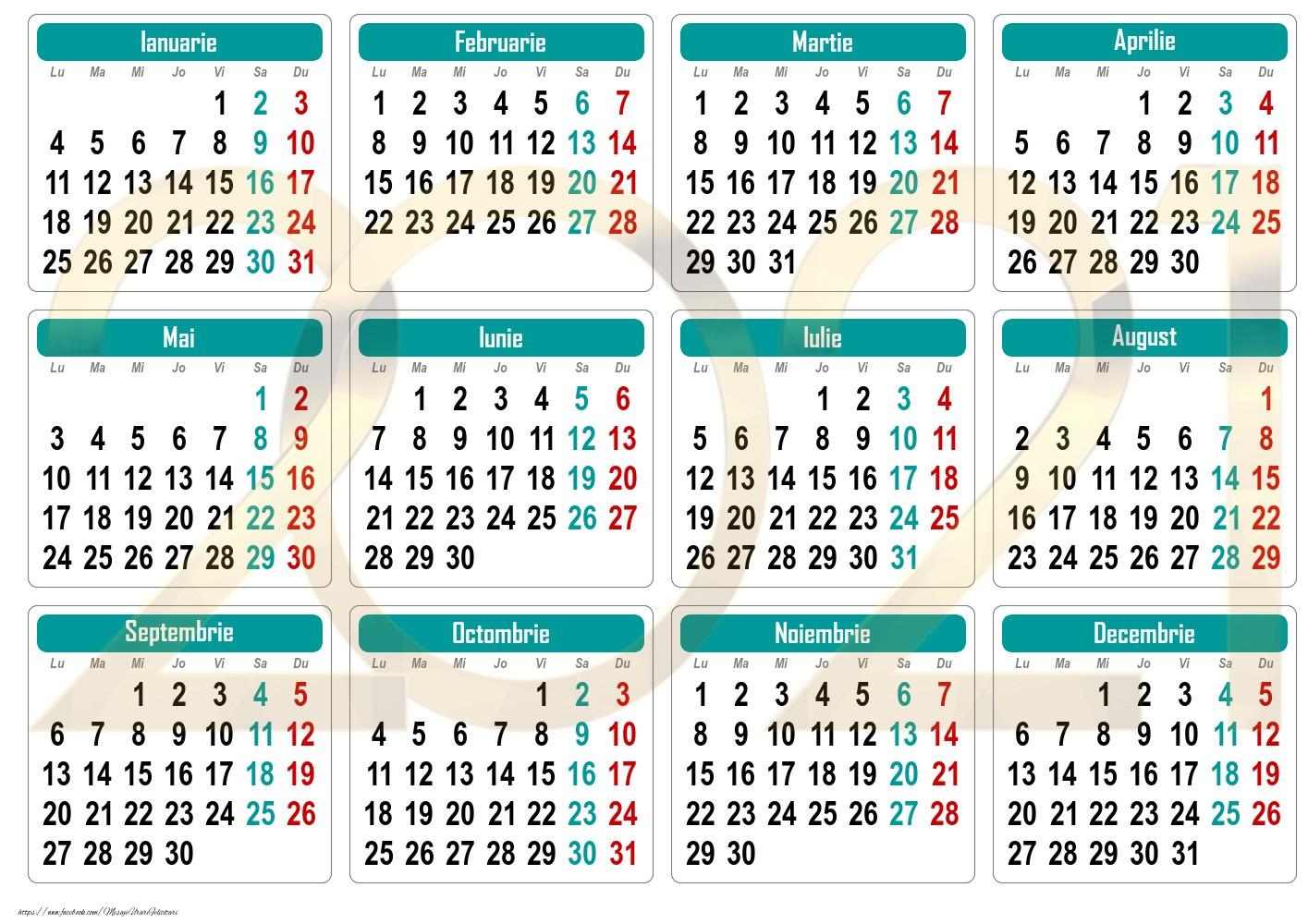 Imagini cu calendare - Calendar de buzunar 2021