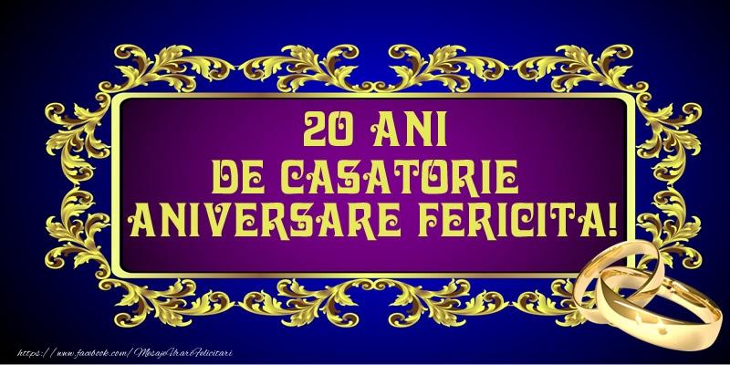 Felicitari de Casatorie - 20 ani de Casatorie Aniversare Fericita!