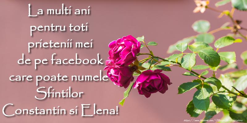 La multi ani pentru toti prietenii mei de pe facebook care poarta numele Sfintilor Constantin si Elena!