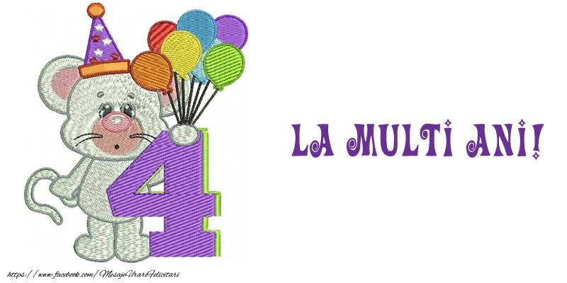 Felicitari pentru copii - Felicitare 4 ani! La multi ani! - mesajeurarifelicitari.com