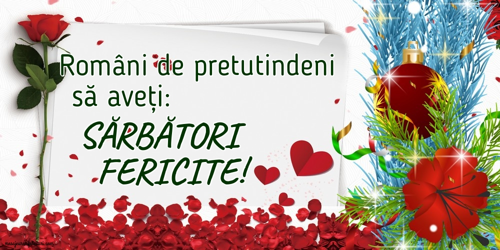 Felicitari de Craciun - Români de pretutindeni să aveți: Sărbători fericite!