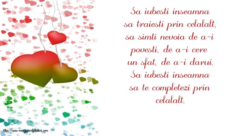 Felicitari de dragoste - Sa iubesti inseamna...