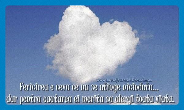 Felicitari de dragoste - Fericirea este ceva ce nu se atinge niciodata ... dar in cautarea ei merita sa alergi toate viata