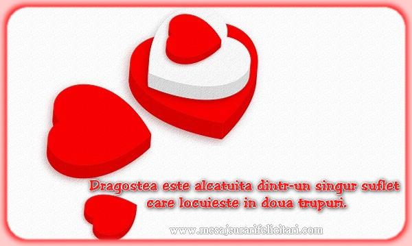 Felicitari de dragoste - Dragostea este alcatuita dintr-un singur suflet care locuieste in doua trupuri
