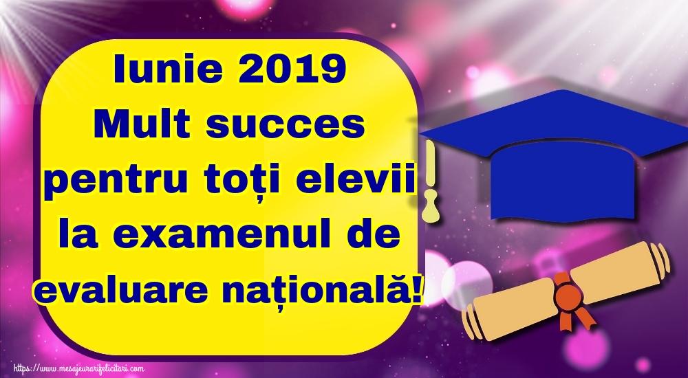 Felicitari de Evaluarea Națională - Iunie 2019 Mult succes pentru toți elevii la examenul de evaluare națională!