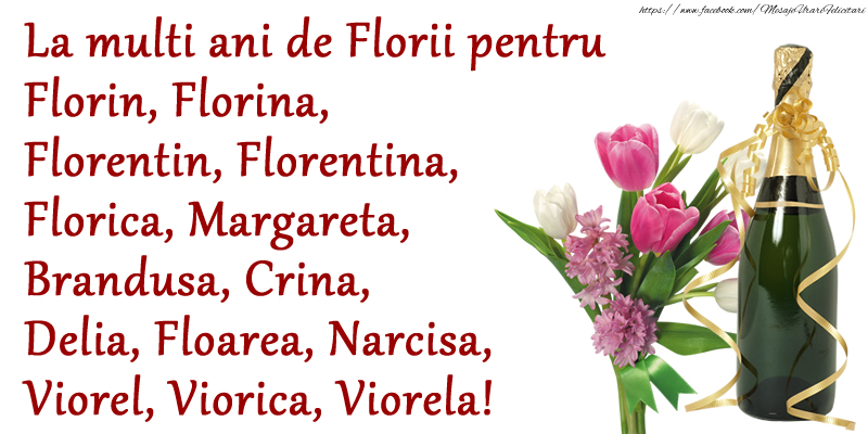 Florii La multi ani de Florii pentru Florin, Florina, Florentin, Florentina, Florica, Margareta, Brandusa, Crina, Delia, Floarea, Narcisa, Viorel, Viorica, Viorela!