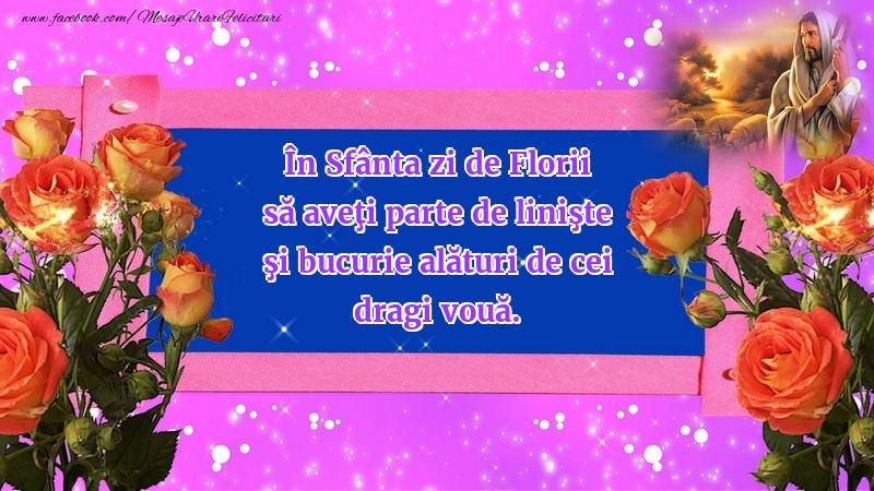 Felicitari de Florii - În Sfânta zi de Florii...