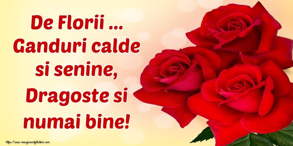 Felicitari de Florii - De Florii ... Ganduri calde si senine, Dragoste si numai bine!