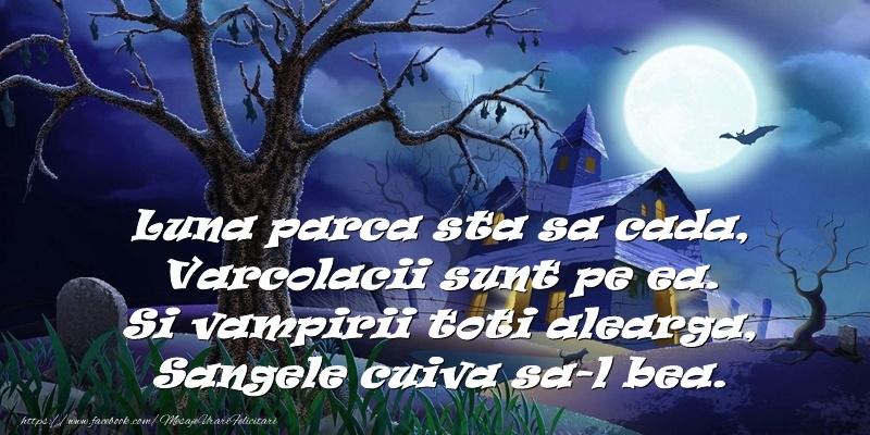 Felicitari de Halloween - Luna parca sta sa cada. Varcolacii sunt pe ea.