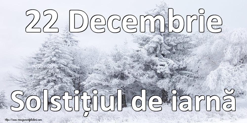 Iarnă 22 Decembrie Solstițiul de iarnă