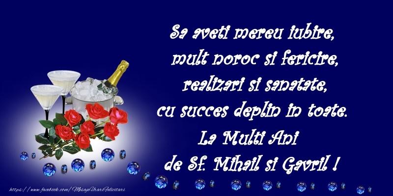 Felicitari de Sfintii Mihail si Gavril cu flori si sampanie - La multi ani de Sfintii Mihail si Gavril!
