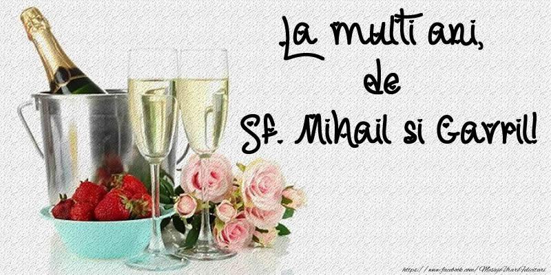 Felicitari de Sfintii Mihail si Gavril cu flori si sampanie - La multi ani, de Sf. Mihail si Gavril!