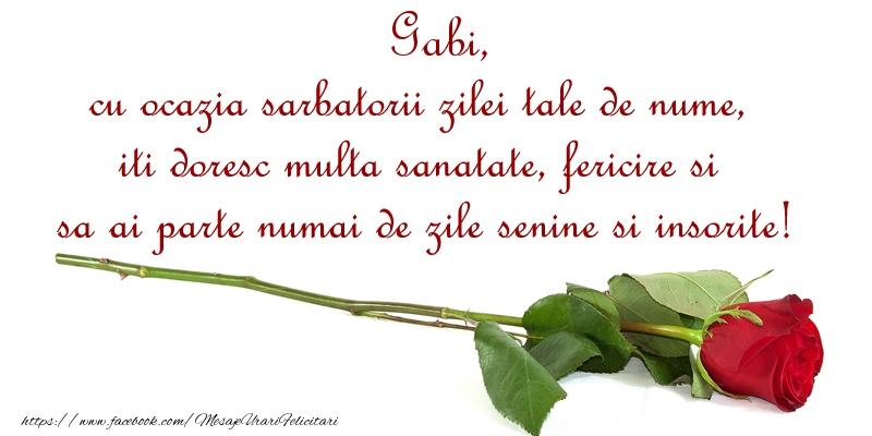 Gabi, cu ocazia sarbatorii zilei tale de nume, iti doresc multa sanatate, fericire si sa ai parte numai de zile senine si insorite!