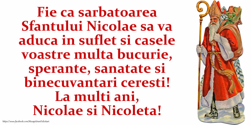 Mos Nicolae La multi ani, Nicolae si Nicoleta!