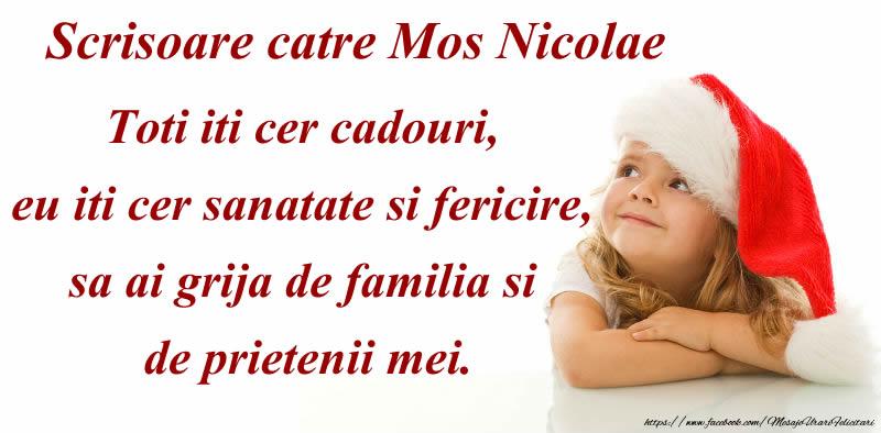 Felicitari de Mos Nicolae - Scrisoare catre Mos Nicolae