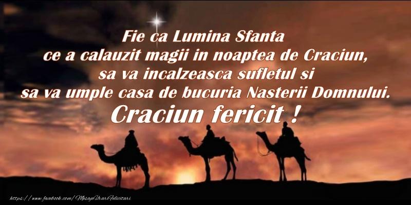 Cele mai apreciate felicitari de Nasterea Domnului - Fie ca lumina Sfanta ce a calauzit magii in noapte de Craciun, sa va incalzeasca sufletul si sa va umple casa de bucuria Nasterii Domnului