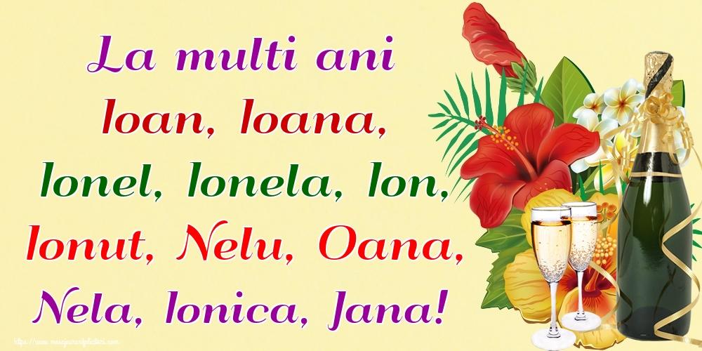 Felicitari de Nasterea Sfantului Ioan - La multi ani Ioan, Ioana, Ionel, Ionela, Ion, Ionut, Nelu, Oana, Nela, Ionica, Jana!