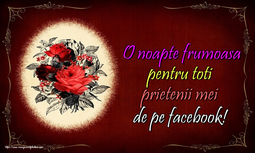 Felicitari de noapte buna - O noapte frumoasa pentru toti prietenii mei de pe facebook!