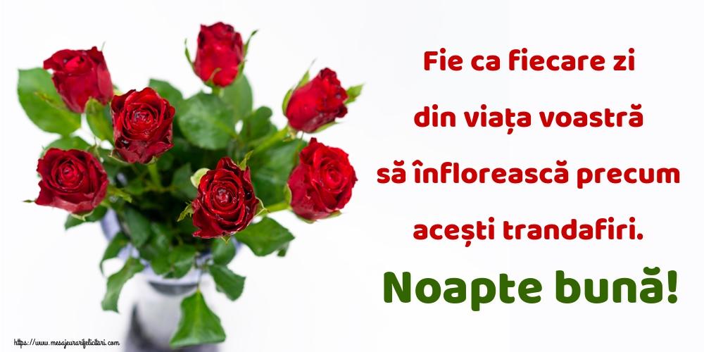 Felicitari de noapte buna - Fie ca fiecare zi din viața voastră să înflorească precum acești trandafiri. Noapte bună!