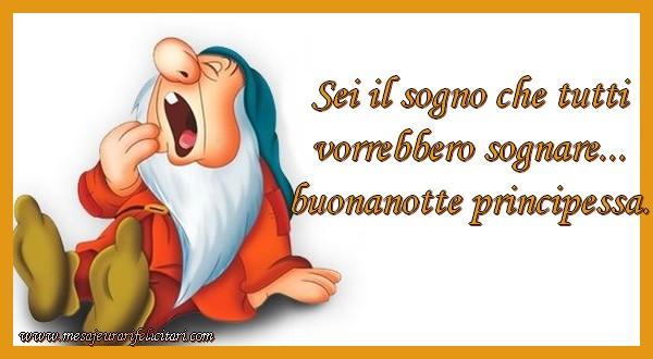 Felicitari de noapte buna in Italiana - Sei il sogno che tutti vorrebbero sognare... buonanotte principessa.