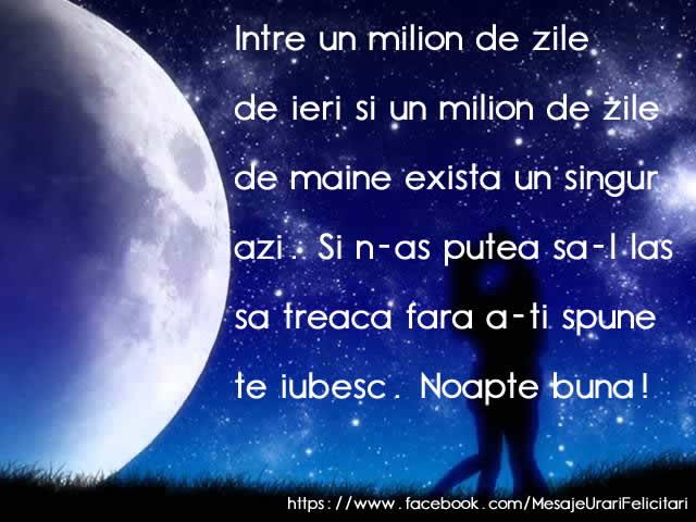 Felicitari de noapte buna - Intre un milion de zile de ieri si un milion de zile de azi ... Noapte buna!