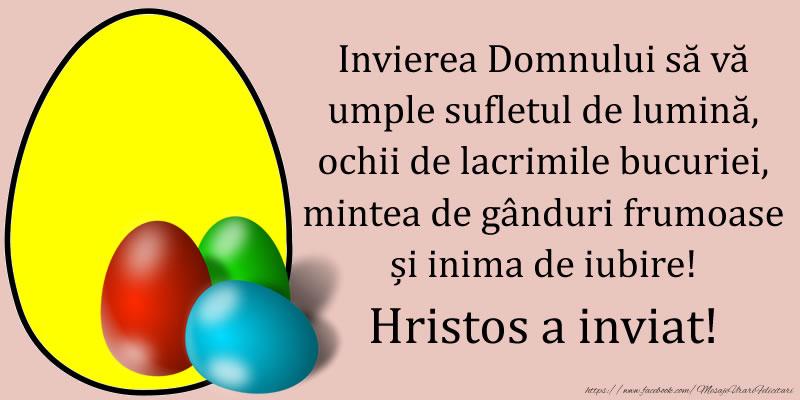 Invierea Domnului să vă umple sufletul de lumină, ochii de lacrimile bucuriei, mintea de gânduri frumoase și inima de iubire! Hristos a inviat!