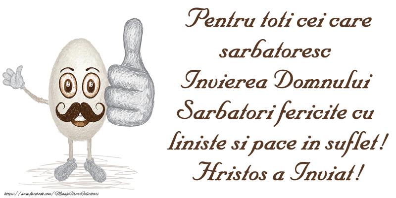 Felicitari de Paste - Pentru toti cei care sarbatoresc Invierea Domnului Sarbatori fericite cu liniste si pace in suflet! Hristos a Inviat! - mesajeurarifelicitari.com