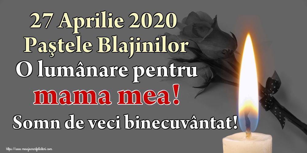 Imagini de Paştele Blajinilor - 27 Aprilie 2020 Paştele Blajinilor O lumânare pentru mama mea! Somn de veci binecuvântat!