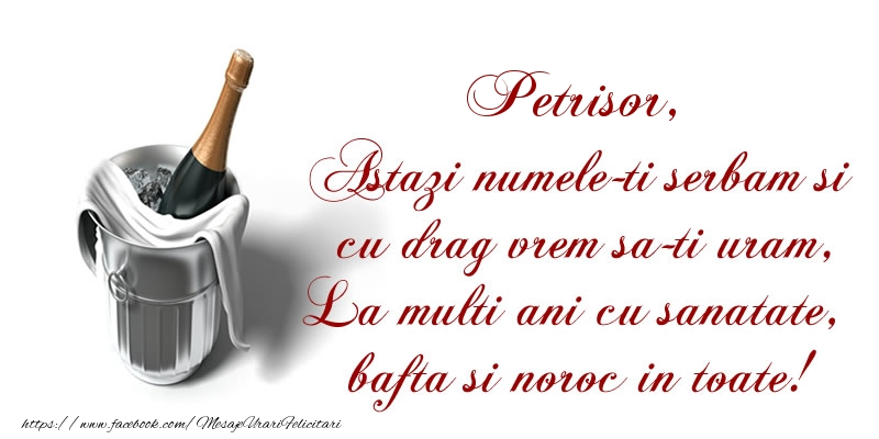 Petrisor Astazi numele-ti serbam si cu drag vrem sa-ti uram, La multi ani cu sanatate, bafta si noroc in toate.
