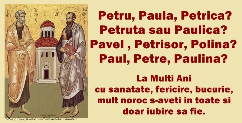 Felicitari de Sfintii Petru si Pavel - mesajeurarifelicitari.com