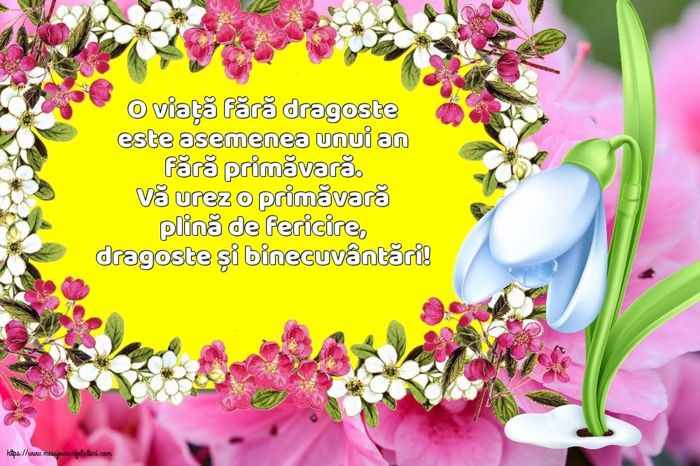 Felicitari de Primavara - O viață fără dragoste este asemenea unui an fără primăvară - mesajeurarifelicitari.com