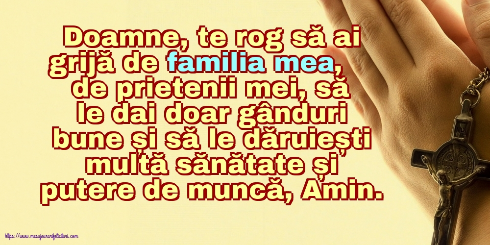 Imagini religioase - Doamne, te rog să ai grijă de familia mea!