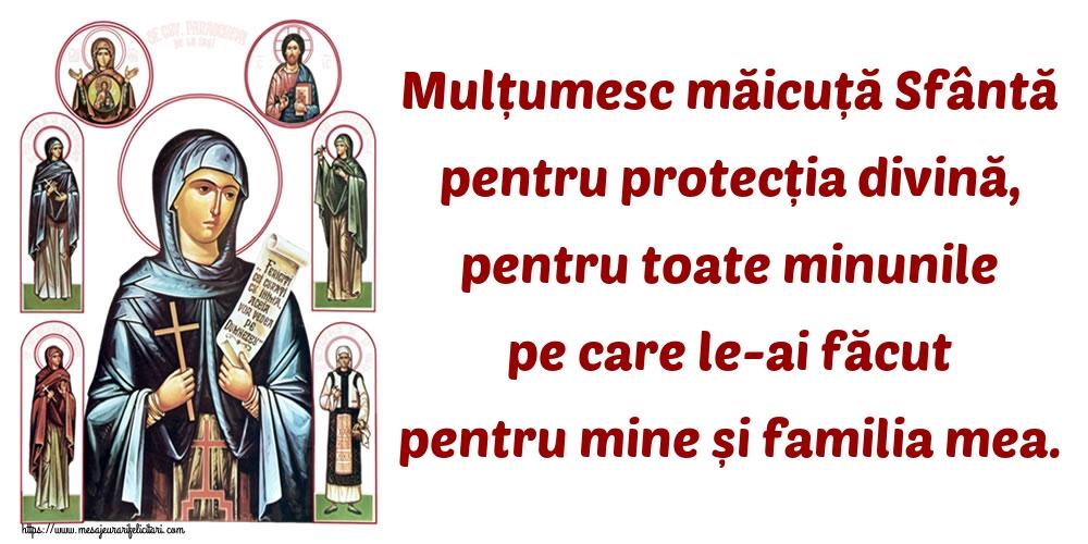 Imagini religioase - Mulțumesc măicuță Sfântă pentru protecția divină, pentru toate minunile pe care le-ai făcut pentru mine și familia mea.