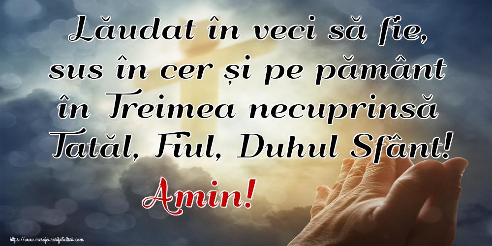 Imagini religioase - Lăudat în veci să fie, sus în cer și pe pământ în Treimea necuprinsă Tatăl, Fiul, Duhul Sfânt! Amin!