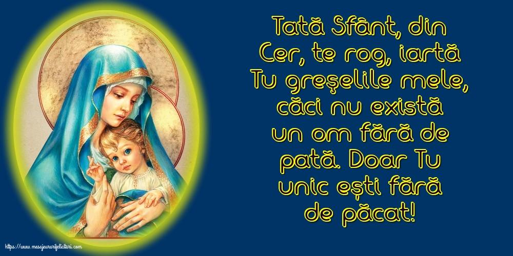 Imagini religioase - Tată Sfânt, din Cer, te rog, iartă Tu greşelile mele