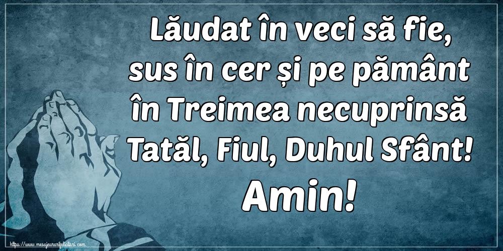 Cele mai apreciate imagini religioase - Lăudat în veci să fie, sus în cer și pe pământ în Treimea necuprinsă Tatăl, Fiul, Duhul Sfânt! Amin!