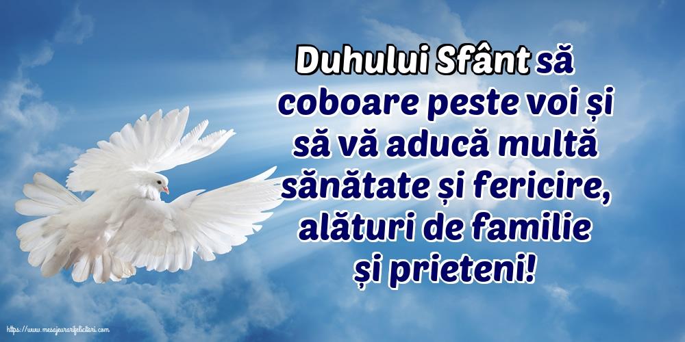 Felicitari de Rusalii - Duhului Sfânt să coboare peste voi... - mesajeurarifelicitari.com