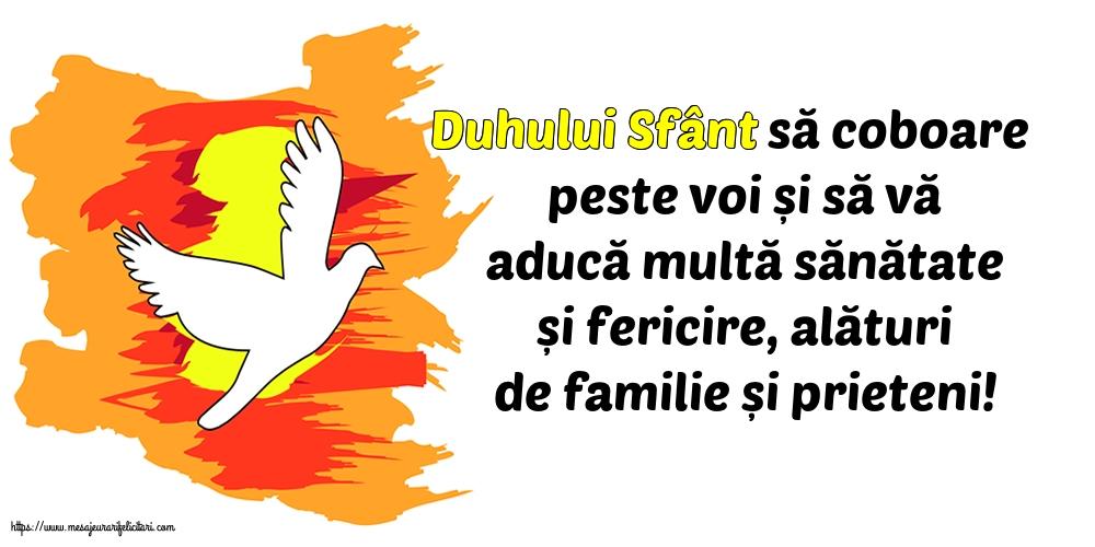 Felicitari de Rusalii cu mesaje - Duhului Sfânt să coboare peste voi...