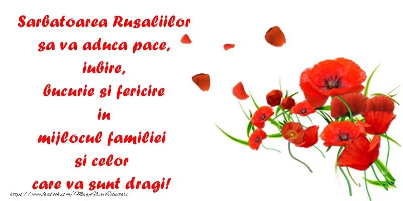 Sarbatoarea Rusaliilor sa va aduca pace, iubire si fericire in mijlocul familiei si celor care va sunt dragi!