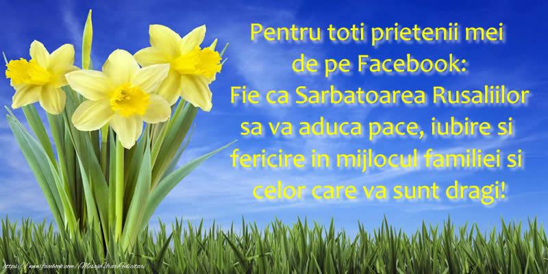 Rusalii Pentru toti prietenii mei de pe Facebook: Fie ca Sarbatoarea Rusaliilor sa va aduca pace, iubire si fericire in mijlocul familiei si celor care va sunt dragi!