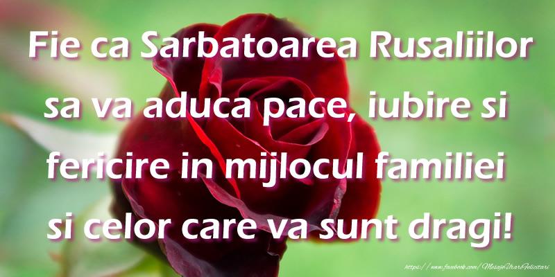 Rusalii Fie ca Sarbatoarea Rusaliilor sa va aduca pace, iubire si fericire in mijlocul familiei si celor care va sunt dragi!